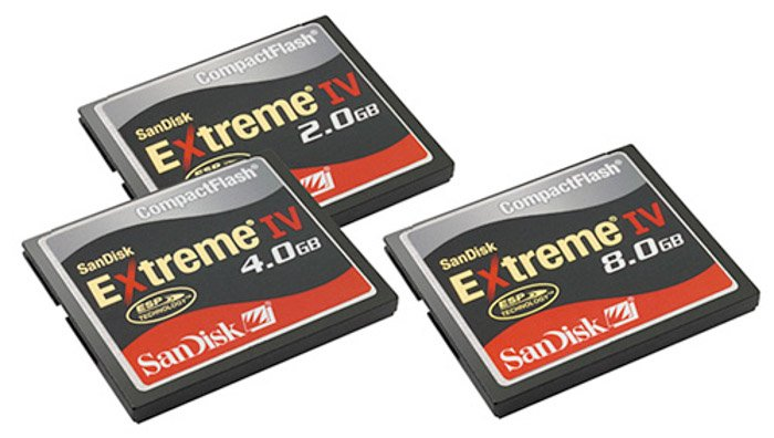 Three different sized SanDisk compact flash memory cards on white background