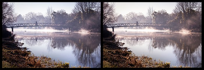 Diptych of a bridge over a river showing the adjustment of the temperature slider from cool to warm - using color theory photography.