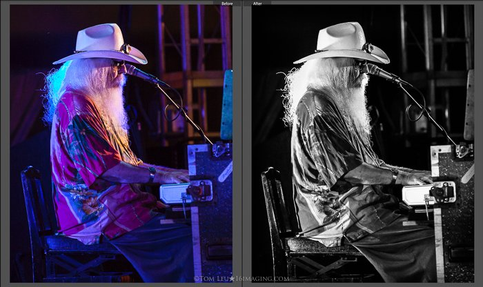 Diptych photos of a long haired pianist onstage before and after concert photography editing in lightroom