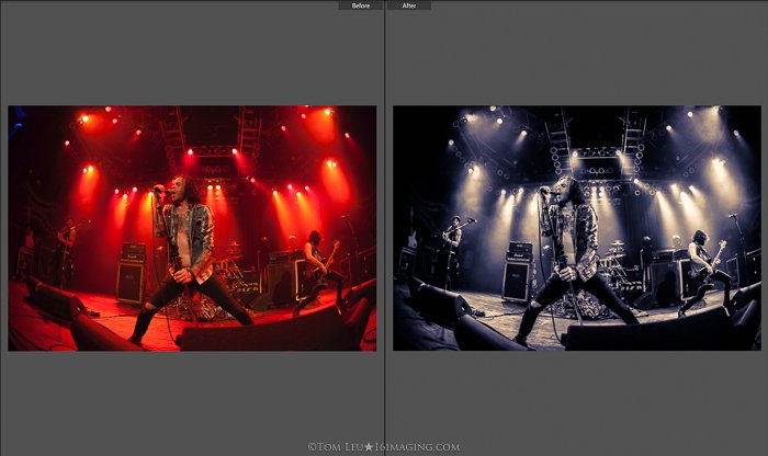 Diptych photos of a singer live onstage before and after concert photography editing in lightroom