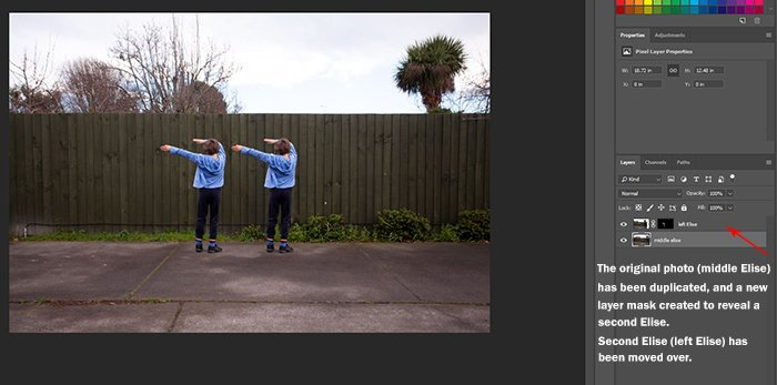 Screenshot of using Photoshop to edit a photo of a little girl dancing into a multiplicity photography shot