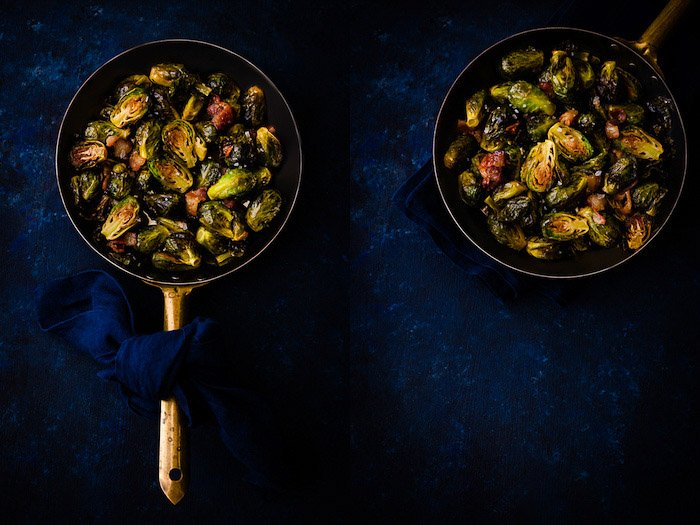 A food photography diptych showing a still life pan of brussel sprouts in a mystic light photography style