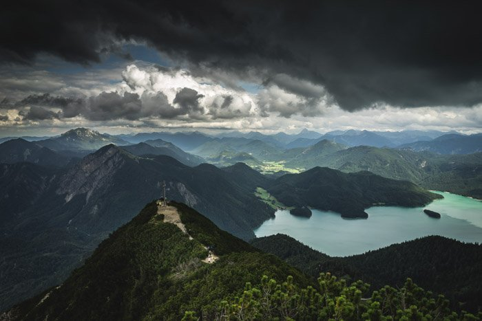 A stunning mountainous landscape taken from a high angle
