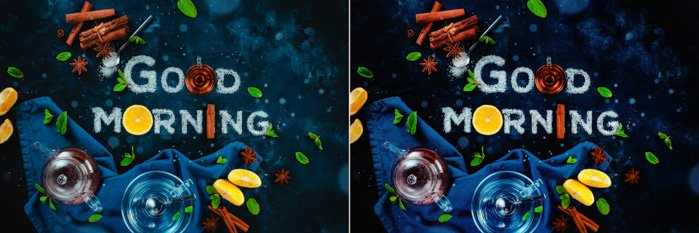 A diptych of a food art still life with the words 'good morning' created with sugar, fruit and other food typography props