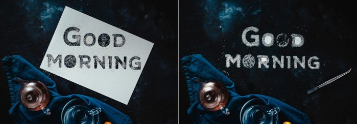 A diptych showing the stencil of the phrase 'good morning' and the message created in sugar without the stencil