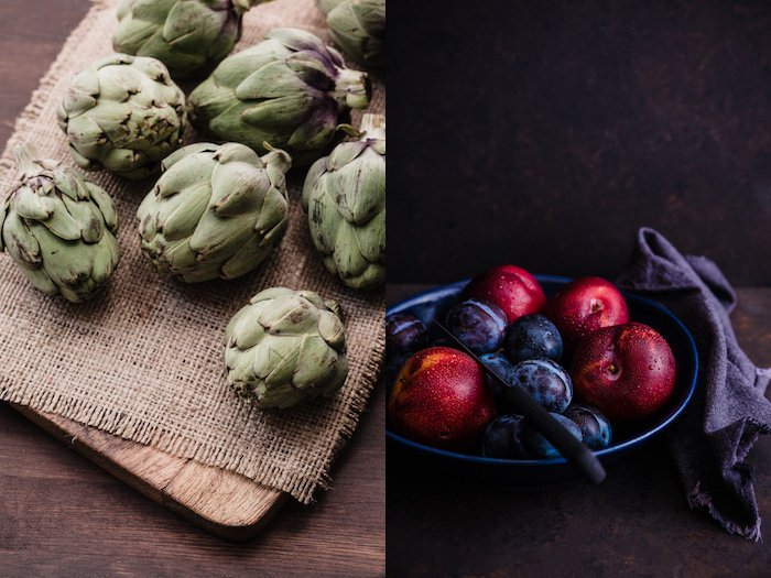 Beautiful food photography diptych of baby articles on a wooden board, and a bowl of plums and peaches