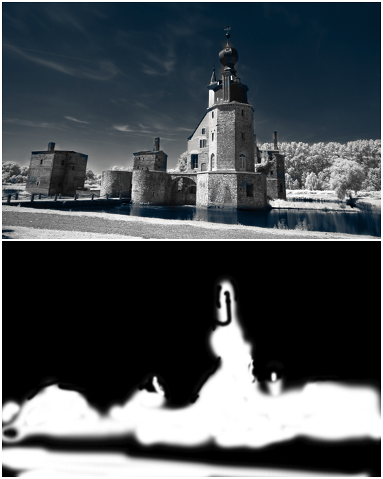 Split screen shot of the original infrared landscape image and a rough mask done in Photoshop.