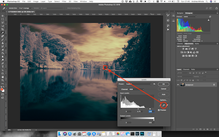 Screenshot of editing an infrared photo of a pond in Photoshop