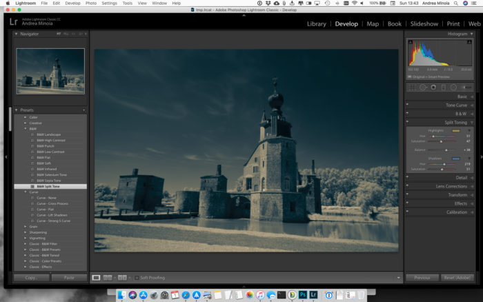 Lightroom screenshot of The effect of the B&W Split Tone preset. Editing infrared photography on lightroom