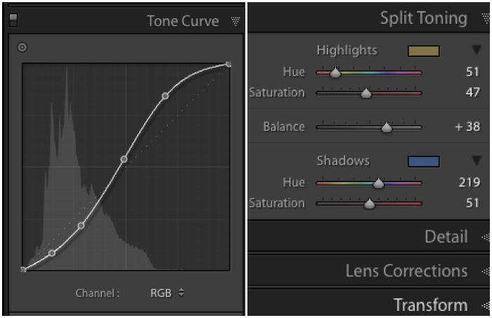 A screenshot of the default settings for the B&W Split Tone preset for editing ir photos
