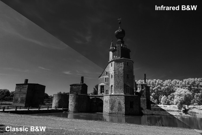 Split-screen image showing the comparison between a simple B/W conversion from colour and infrared images.