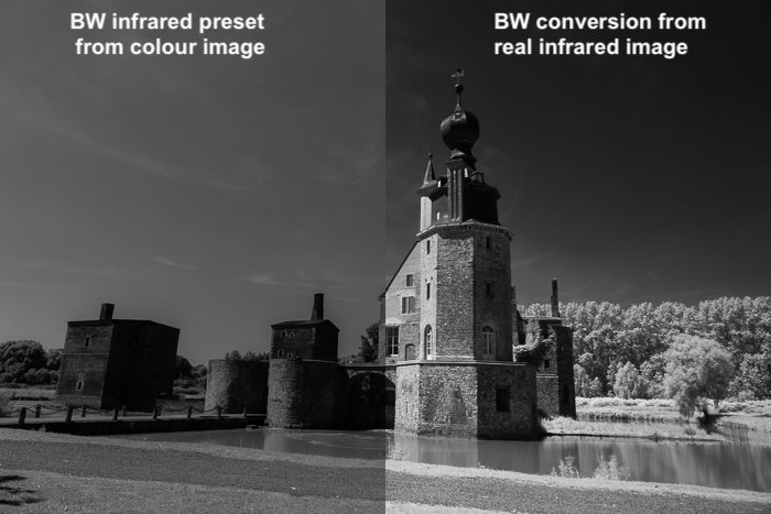 Split image showing a comparison between the use of the B&W infrared preset on a colour image and a monochrome conversion of a real IR image.
