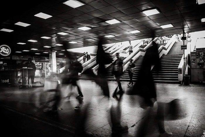 Atmospheric monochrome street photography scene