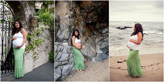 Triptych portrait of a woman in different maternity photography poses outdoors in a natural landscape