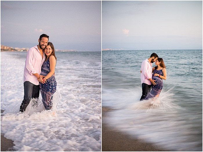 Diptych portrait of a couple on a beach posing for a maternity photography session