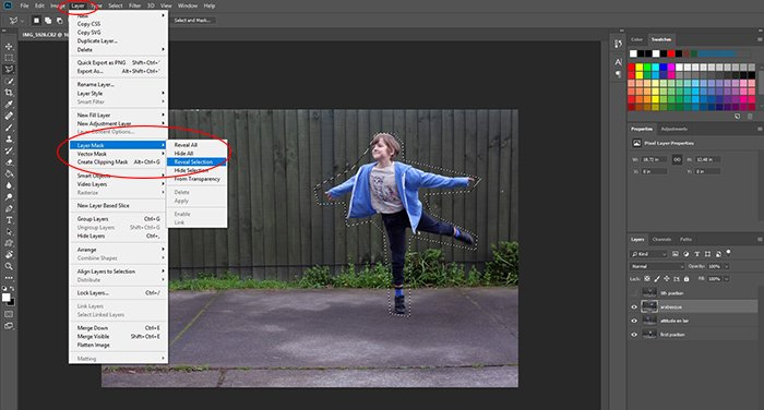 Screenshot of using Photoshop to edit a photo of a little girl dancing into a multiplicity photography shot - creating layer masks