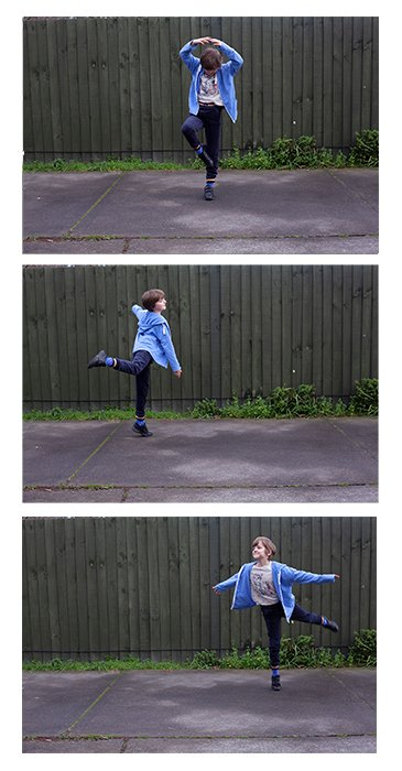 Three photograph grid of a little girl dancing outdoors