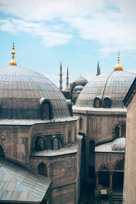 Cool architectural shot of domed roofs of buildings