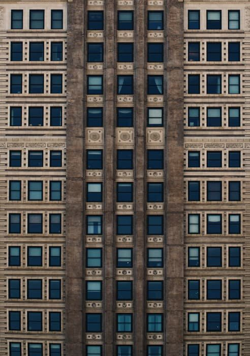 Cool perspective photography shot of a multi windowed building