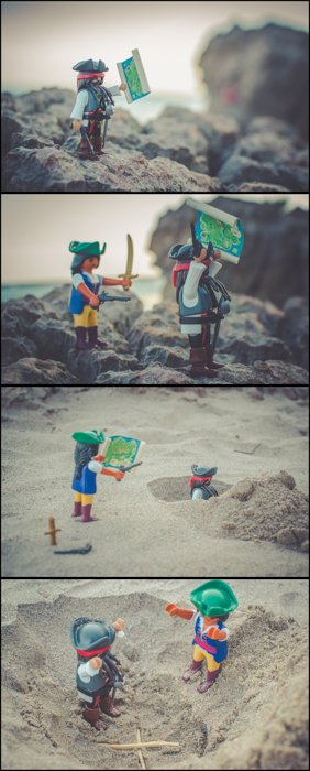Four photos of pirate playmobil characters posed as if they are fighting on the sand, creative beach photography ideas.