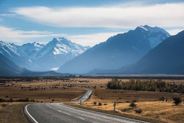 a road running through a mountainous landscape