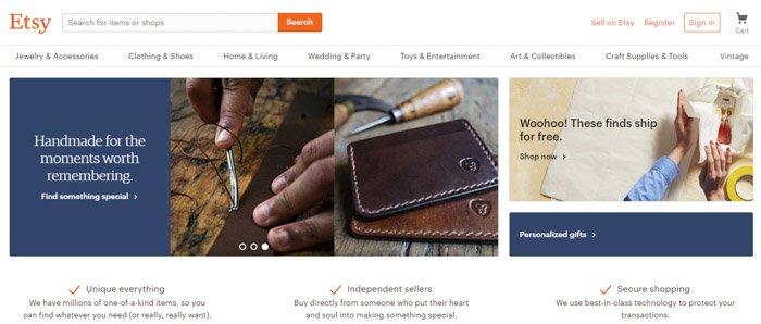 Screenshot of Etsy website homepage