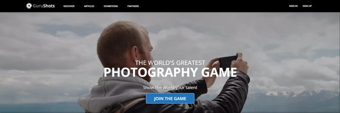 A screenshot of Gurushots homepage for selling images online