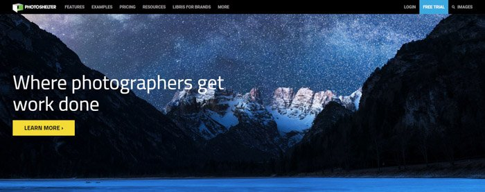 Screenshot of Photoshelter homepage to sell photos online