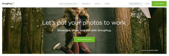A screenshot of SmugMug homepage