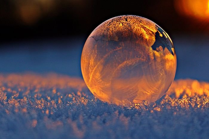 close-up photo of a soap-bubble reflecting snowflakes