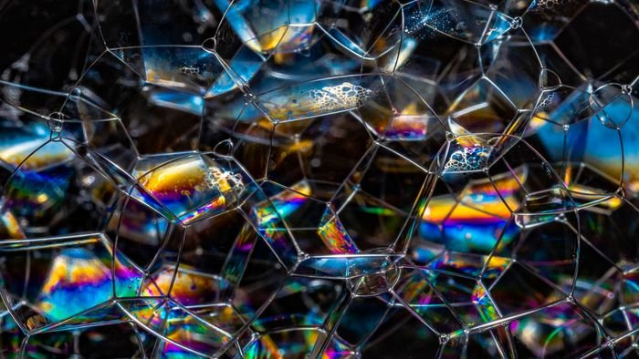 macro photo of bubbles attached together