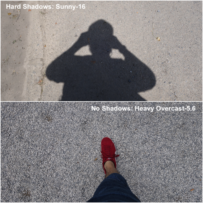 Diptych showing the difference between using the sunny-16 rule with hard shadows, or the overcast-5.6 for no shadows