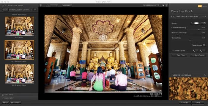 Screenshot of using the Nik Color Efex program filter, which you can use to add a vignette for editing travel images