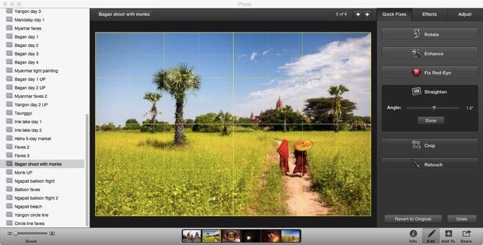 Screenshot of editing a travel photography image in Lightroom