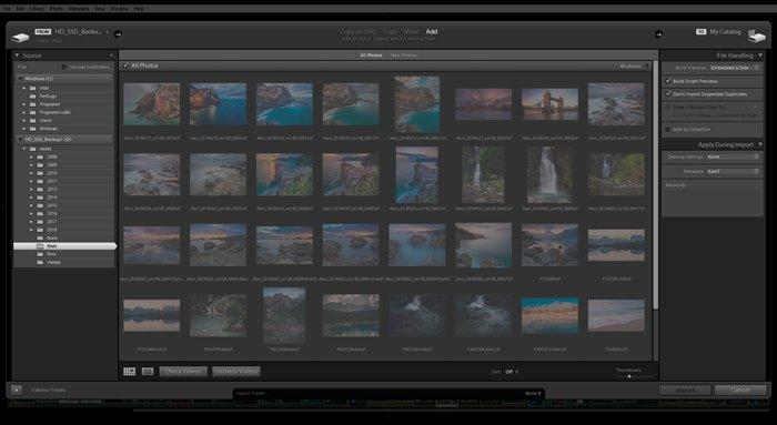 Screenshot image of Lightroom import dialog