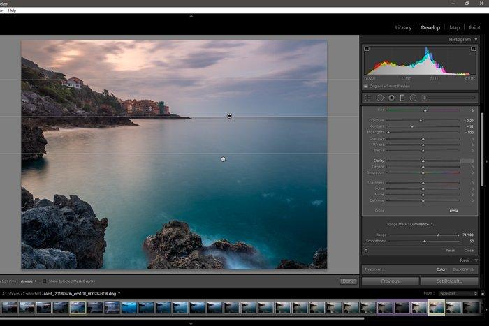 Adobe Lightroom screenshot of range masks for local adjustment