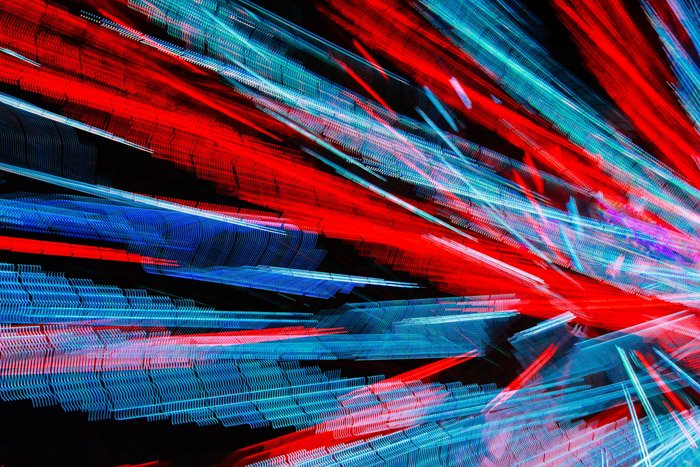 An expressive abstract image with a pattern of blue and red light