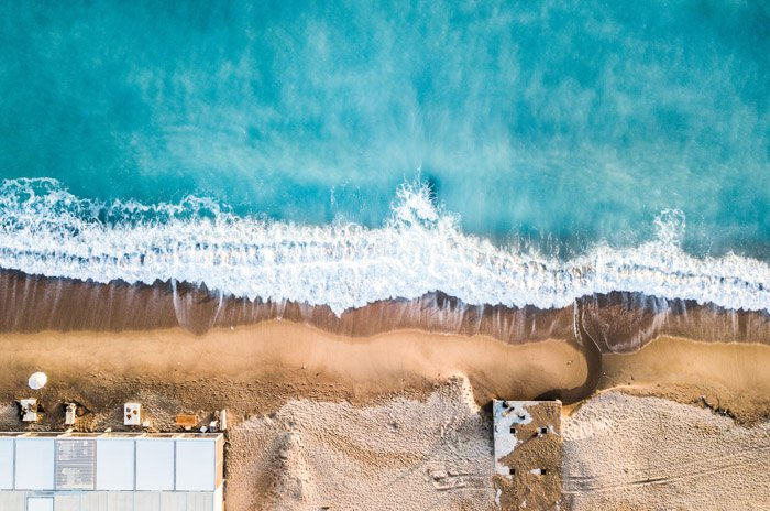 Aerial photography of a beautiful and clear beach scene