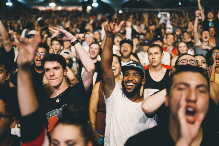 a crowd cheering at a concert or event