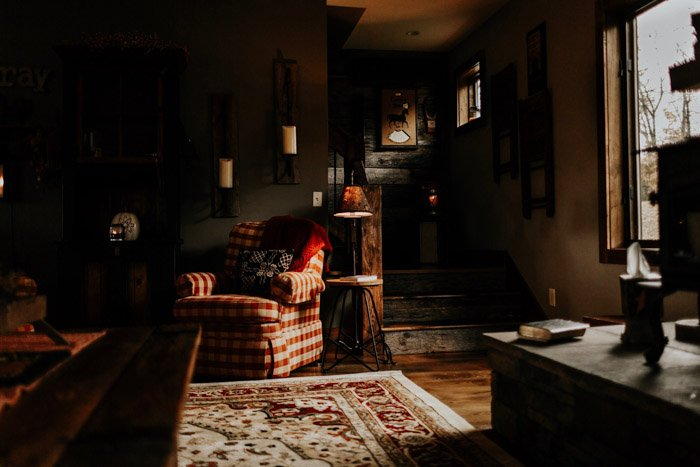 An interior photography shot of a cosy living room