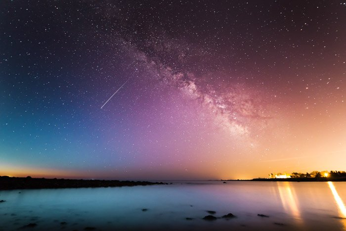 beautifully colored seascape photography at night