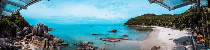Panoramic shot of a tropical beach