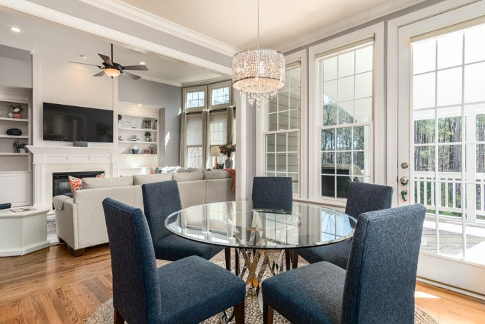 An interior photography shot of a luxurious dining room