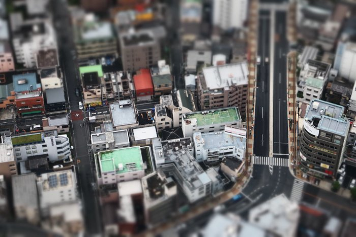 Tilt-shift image of a city from above