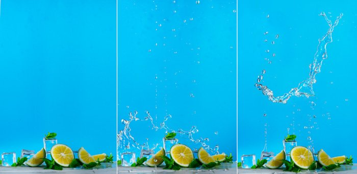 Triptych of food photography set up with water splashes