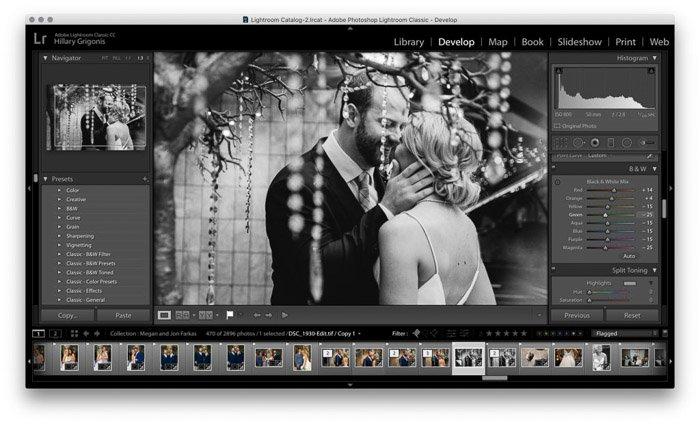 Screenshot of wedding photo editing on Lightroom - black and white wedding photography