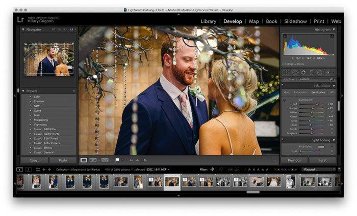 Screenshot of wedding photo editing on Lightroom - white balance and hsl