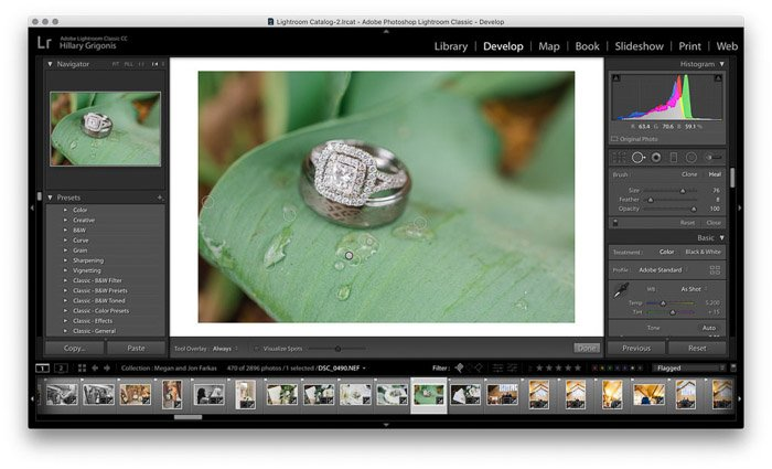 Screenshot of wedding photo editing on Lightroom - healing brush