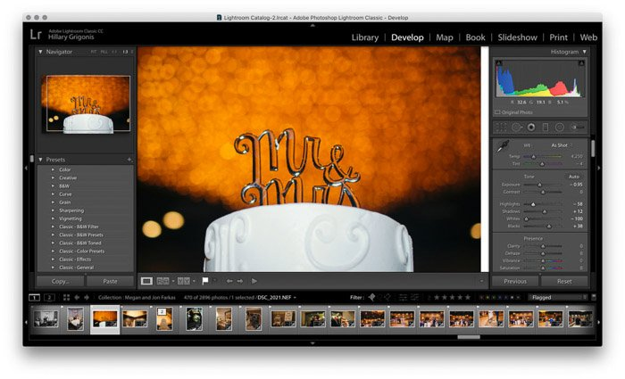 Screenshot of wedding photo editing on Lightroom - exposure settings.