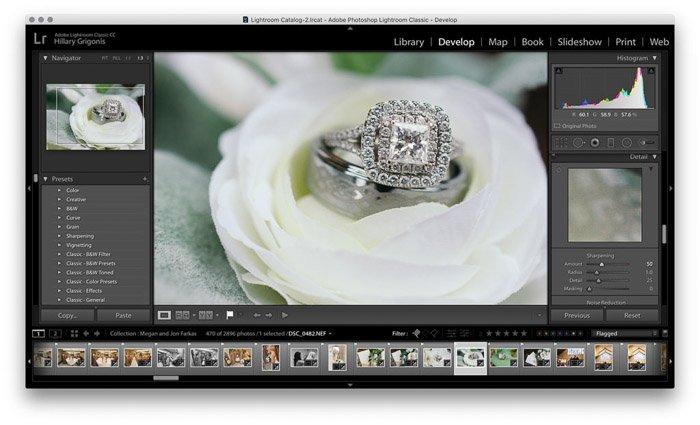 Screenshot of wedding photo editing on Lightroom - noise reduction